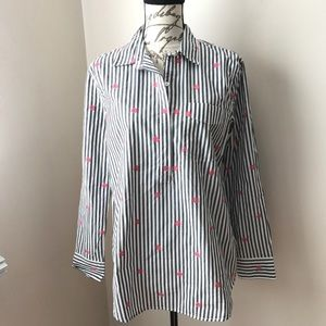 Gap Long Sleeve Cotton Striped popover Blouse